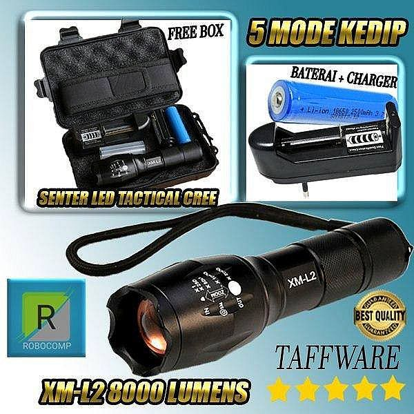 Senter LED Tactical CREE XM-L2 8000 Lumens dengan Baterai 18650+Charge